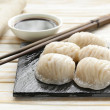 Asian steamed meat dumplings dim sum with soy sauce — Stock Photo #47756317