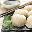 Asian steamed meat dumplings dim sum with soy sauce — Stock Photo #47801501