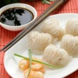 Asian steamed meat dumplings dim sum with soy sauce — Stock Photo #47801521