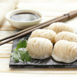 Asian steamed meat dumplings dim sum with soy sauce — Stock Photo #47901551