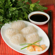 Asian steamed meat dumplings dim sum with soy sauce — Stock Photo #47901593