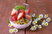 Dairy yogurt dessert with muesli and strawberries — Stock Photo