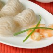 Asian steamed meat dumplings dim sum with soy sauce — Stock Photo #48055897
