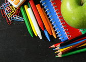 Back to school concept, school stationery multicolored pencils and notebooks — Stock Photo