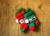 Christmas knitted socks for gifts traditional festive decoration — Φωτογραφία Αρχείου