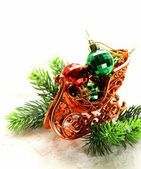 Christmas composition with holiday decorations and gifts — Stockfoto