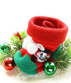 Christmas knitted socks for gifts traditional festive decoration — Stock Photo