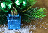 Christmas composition with holiday decorations and gifts — Foto Stock