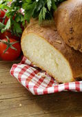 Traditional Italian ciabatta bread with tomatoes and herbs — Stok fotoğraf