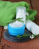 Cosmetic cream lotion with natural green fresh aloe vera — Stock Photo