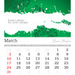 March 2013 A3 calendar - Stock Photo