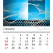 january 2013 a3 calendar — Stock Vector