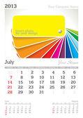 July 2013 A3 calendar — Stock Vector