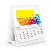 July 2013 desk calendar — Stock Vector