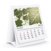 October 2013 desk calendar — Stock Vector