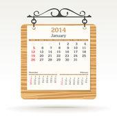 January 2014 - calendar — Stock Vector