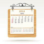 April 2014 - calendar — Stock Vector