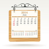 June 2014 - calendar — Stock Vector