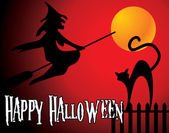 Halloween background with full orange moon, witch and black cat — Stockvector