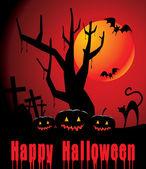 Halloween pozadí s plnou oranžový měsíc, dýňová a černé ca — Stock vektor