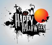 Halloween background with full orange moon — Stock Vector