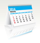 February 2014 desk calendar — Vector de stock