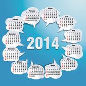 Kalendarz 2014 bańka mowy — Wektor stockowy