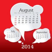 August 2014 bubble speech calendar — Stock Vector