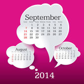 September 2014 bubbla tal kalender — Stockvektor