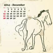 December 2014 hand drawn horse calendar — Vecteur