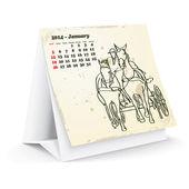 Januari 2014 skrivbord häst kalender — Stockvektor