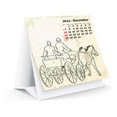 December 2014 desk horse calendar — Stock Vector