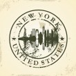 Grunge rubber stamp with New York, USA — 图库矢量图片