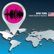 Vector de stock : Map pin with New York skyline