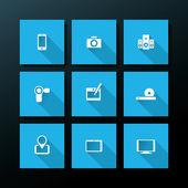 Vector flat media icon set — Stock Vector