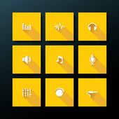 Vector flat audio icon set — Stock Vector