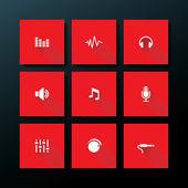 Vector flat audio icon set — Stock Vector