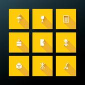 Vektör yassı ambalaj icon set — Stok Vektör