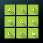 Vector flat warning icon set — Stock Vector