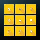 Vector flat warning icon set — Stock Vector