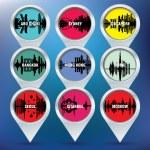Map pins with Abu Dhabi, Sydney, Singapore, Bangkok, Hong Kong, — Stock Vector