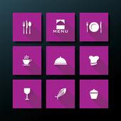 плоский ресторан векторный икона set — Cтоковый вектор