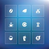 Vector flat coffee icon set — Stock Vector