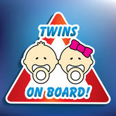 Twins on board sticker — Stock Vector