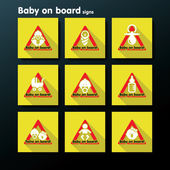 Vector flat baby on board sign set — Stock Vector