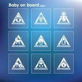 Vector platte baby aan boord van teken reeks — Stockvector