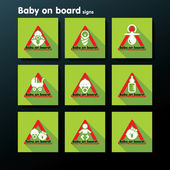 Vector flat baby on board sign set — Stok Vektör