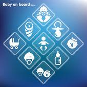 Vector flat baby on board sign setPrint — Stock Vector