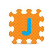 "Vector letter ""J"" written with alphabet puzzle — Stock Vector"
