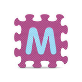 "Vector letter ""M"" written with alphabet puzzle — Stok Vektör"